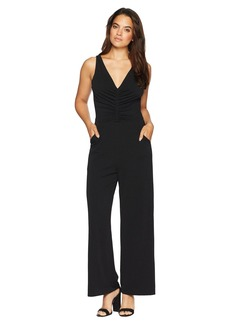 Maggy London Solid Crepe Ruched Novelty Jumpsuit