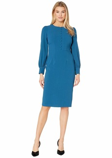 Maggy London Solid Crepe Sheath Dress with Self Covered Buttons