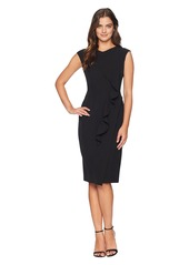 Maggy London Solid Crepe Sheath With Front Cascade Ruffle