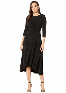 Maggy London Solid Jersey Ruched Center Front Dress
