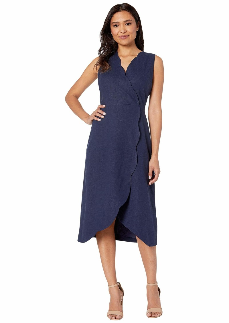 Maggy London Solid Linen Cotton Fit and Flare with Scallop Detail