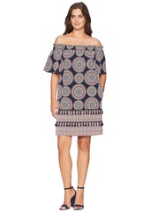 Maggy London Spinning Wheel Printed Off The Shoulder Shift