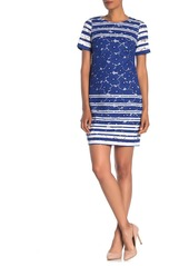 Maggy London Striped Floral Lace Short Sleeve Shift Dress