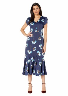 Maggy London Tossed Gerber Printed Charmeuse Fit and Flare Dress