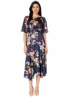 Maggy London Tropical Orchid Satin Stripe Fit and Flare Dress