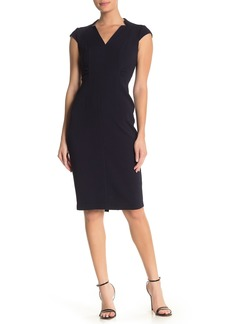 Maggy London V-Neck Cap Sleeve Solid Dress
