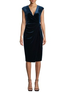 Maggy London Velvet Wrap Sheath Dress