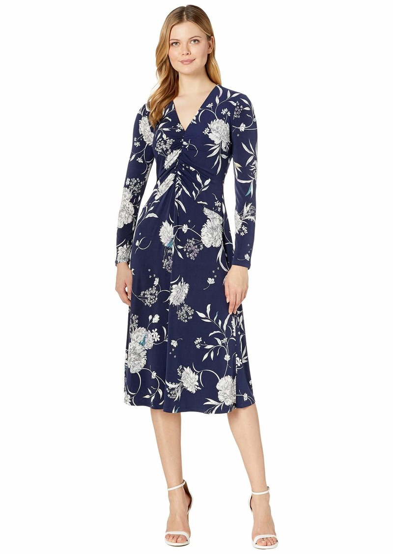 Maggy London Water Color Peony Printed Ruched Jersey Fit-and-Flare