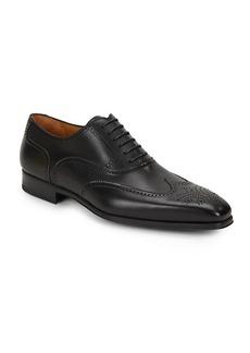 Magnanni Burnished Calfskin Leather Wingtip Shoes