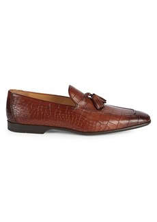 Magnanni Cognac Croc-Embossed Leather Loafers