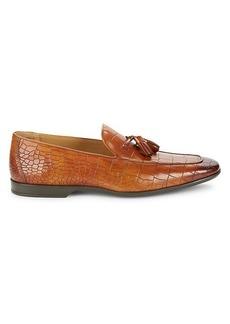 Magnanni Croc-Embossed Leather Tassel Loafers