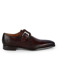 Magnanni Embossed Iguana Textured Leather Monk Strap Shoes