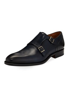 Magnanni Hand-Antiqued Calf Monk Dress Shoe