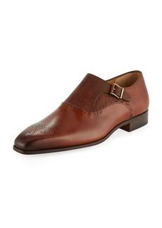Magnanni Hand-Antiqued Calfskin/Suede Monk-Strap Loafer