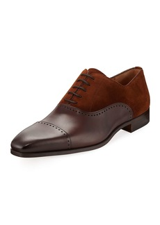 Magnanni Hand-Antiqued Mixed Calf Oxford  Brown