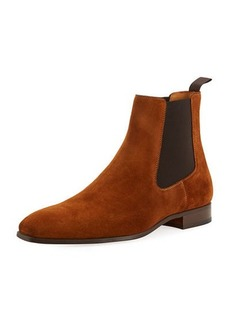 Magnanni Hand-Antiqued Suede Gored Boots