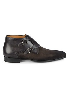 Magnanni Laroya II Suede & Leather Double Monk-Strap Shoes