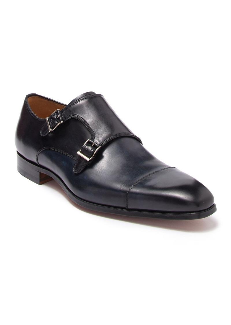 Magnanni Leather Cap Toe Monk Strap Dress Shoe