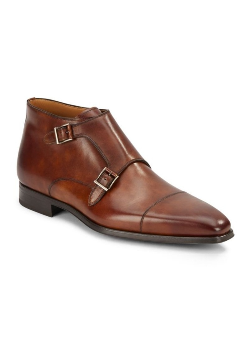 Magnanni for Saks Fifth Avenue Double Monk Strap Leather Boots