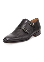Magnanni for Neiman Marcus Hand Antiqued Double-Monk Loafer