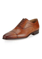 Magnanni for Neiman Marcus Hand-Antiqued Perforated Leather Oxford