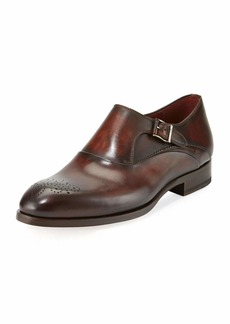 Magnanni Leather Medallion-Toe Monk-Strap Shoe