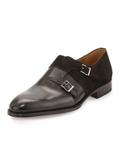 Magnanni for Neiman Marcus Leather/Suede Double-Monk Loafer