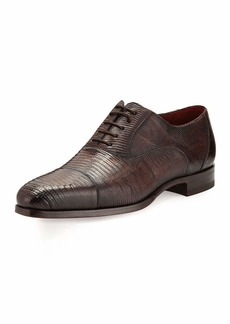 Magnanni Lizard Cap-Toe Oxford Shoe