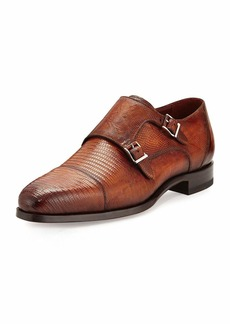 Magnanni Lizard Double-Monk Shoes