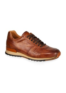Magnanni for Neiman Marcus Men's Soft Bultaco Leather Lace-Up Oxford Sneakers