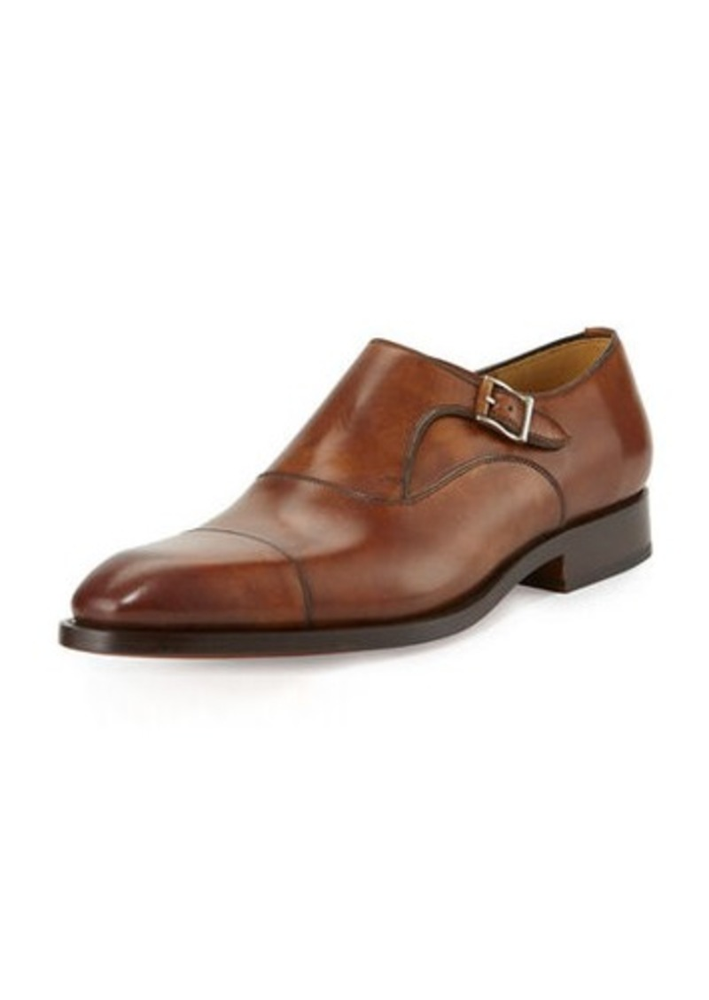 Magnanni for Neiman Marcus Monk-Strap Hand-Antiqued Leather Cap-Toe Loafer