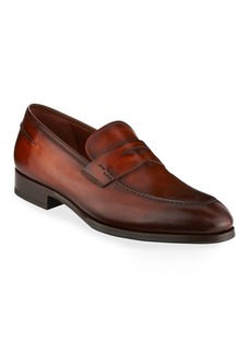 Magnanni for Neiman Marcus Smooth Leather Penny Loafer  Brown