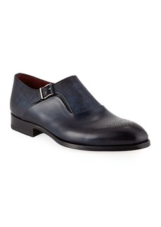 Magnanni for Neiman Marcus Textured Monk Strap Shoes