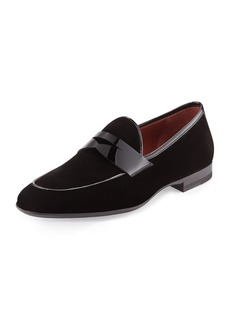 Magnanni Velvet Formal Penny Loafer  Black