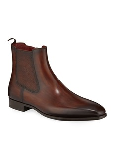 Magnanni Men's Side-Zip Leather Ankle Boots