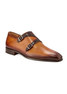 Magnanni Men's Antiqued Leather Double-Monk Dress Shoes