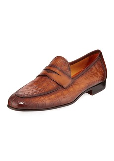 Magnanni Men's Carlos Croc-Embossed Penny Loafers