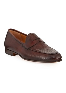 Magnanni Men's Embossed Leather Penny Loafers