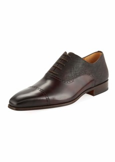Magnanni Men's Hand-Antiqued Calfskin/Suede Lace-Up Oxford Dress Shoes