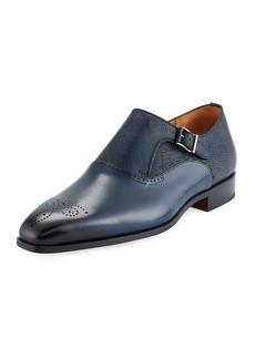 Magnanni Men's Hand-Antiqued Calfskin/Suede Monk-Strap Loafers