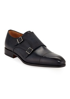 Magnanni Men's Leather Double-Monk Dress Loafers