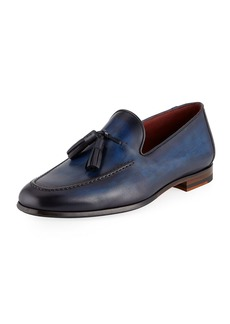 Magnanni Men's Leather Slip-On Loafers with Tassels