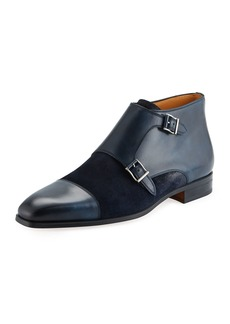 Magnanni Men's Mixed Leather Monk Loafers