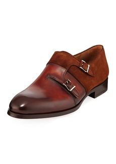 Magnanni Men's Orville Leather Double-Monk Shoes