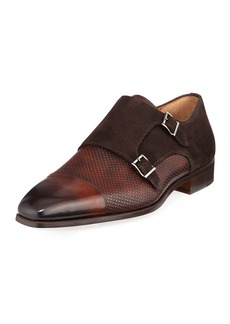 Magnanni Mixed Leather Monk Loafer