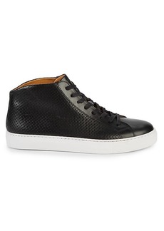 Magnanni Perforated Leather Mid-Top Sneakers