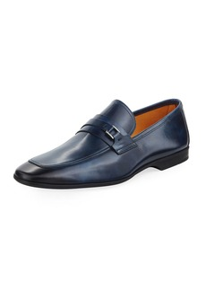 Magnanni Square-Toe Slip-On Leather Loafer
