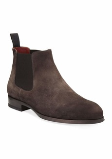 Magnanni Suede Low Gored Chelsea Boot  Gray