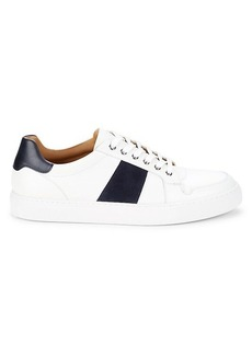 Magnanni Suede-Trim Leather Sneakers