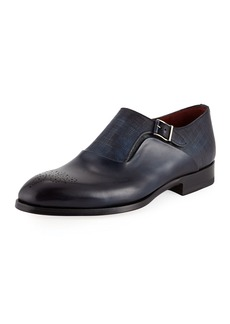 Magnanni Textured Monk Strap Shoes